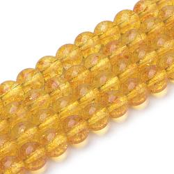 синтетические цитрин бусы пряди, вокруг, окрашенный, 8x7.5 mm, отверстия: 1 mm; о 46~49 шт / прядь, 15.5(X-G-S150-14-8mm)