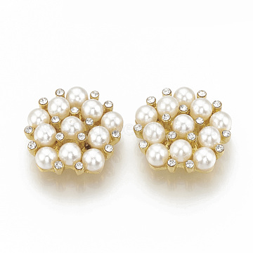 Alloy Rhinestone Flower Flat Back Cabochons, with ABS Plastic Imitation Pearl, for Photo Pendant Craft Jewelry Making, Golden, 21x21.5x7mm(RB-S048-20G)