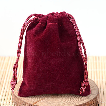 Rectangle Velvet Pouches, Gift Bags, Dark Red, 15x10cm(X-TP-R002-10x15-02)