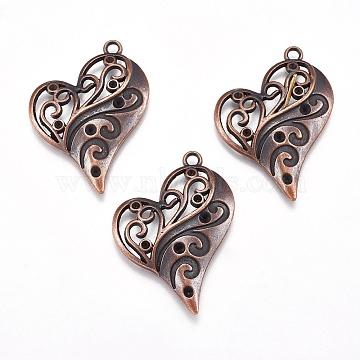 Heart Zinc Alloy Pendant Rhinestone Enamel Settings, Red Copper, Cadmium Free & Nickel Free & Lead Free, Size: about 39mm long, 31mm wide, hole: 2mm(X-PALLOY-A13825-R-FF)
