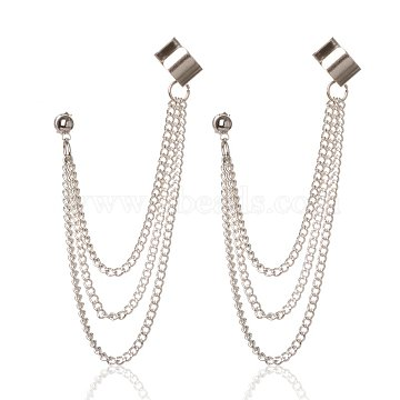 Stylish Iron Twisted Chains Ear Studs, with Brass Cuff Earring Findings, Platinum, 85mm(EJEW-PJE743)