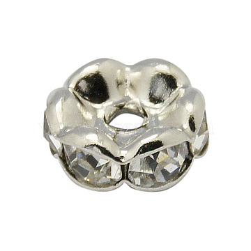 Brass Rhinestone Spacer Beads, Grade A, Wavy Edge, Platinum, Rondelle, Crystal, 6x3mm, Hole: 1mm(X-RB-A014-L6mm-01P)