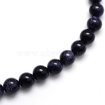 Synthetic Blue Goldstone Round Beads Strands, 6mm, Hole: 1mm, about 65pcs/strand, 15.5 inches(X-G-O047-11-6mm)