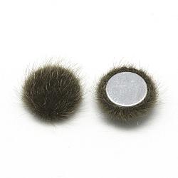 Cabochons recouverts de fausse fourrure, avec fond en aluminium, demi-rond / dôme, café, 15x5mm(X-WOVE-S084-49J)