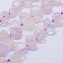 "Chapelets perles en kunzite/spodumène naturelle, nuggets, 8.5~12x8~11x4~6mm, trou: 1mm; environ 48~55 pcs/chapelet, 16.7"" (42.5 cm)(G-F566-32)"