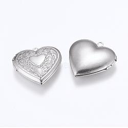 Pendentifs médaillon en 304 acier inoxydable, breloques cadre de photo pour colliers, cœur, couleur inoxydable, 29x29x6.5mm, trou: 2 mm; dimensions intérieures: 16.5x21.5 mm(X-STAS-G146-20P)