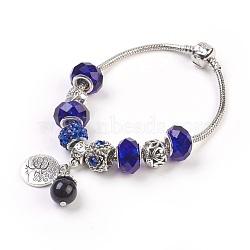 """Bracelets européens, avec des perles de verre et des perles naturelles d'oeil de tigre, perles en alliage avec strass et accessoires en métal, rond et plat avec un arbre, bleu, 7-5/8"""" (19.5 cm); pendentif: 19x15x1.5mm et 20x10mm(BJEW-JB03799)"""