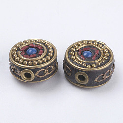 Handmade Indonesia Beads, with Brass Findings, Nickel Free, Flat Round, Raw(Unplated), Blue, 15.5~16x8~9mm, Hole: 2mm(IPDL-F022-28C)