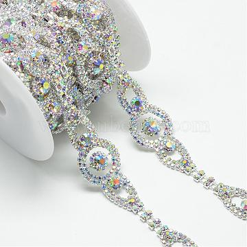 Brass Glass Rhinestone Chains, with Spool, Rhinestone Cup Chain, Crystal AB, Silver Color Plated, 26.5x7.5mm; about 5yards/roll(4.572m/roll)(CHC-S001-16S-AB)
