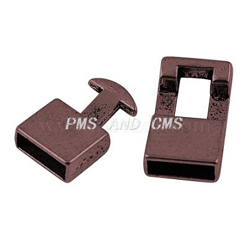 Tibetan Style Snap Lock Clasps, Lead Free & Cadmium Free & Nickel Free, Red Copper, clasp: 22mm long, 12mm wide, 6mm thick, hole: 19mm long, 12mm wide, 5mm thick, hole: 3x10mm(X-RLF11313Y-NF)