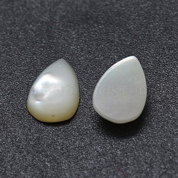 Shell Cabochons, teardrop, White, 7x5x2mm(SSHEL-E567-24A)