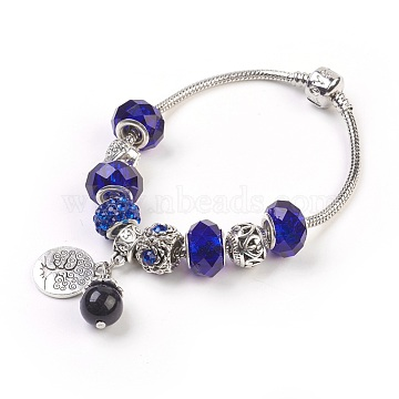 European Bracelets, with Glass Beads and Natural Tiger Eye Beads, Alloy Rhinestone Beads and Metal Findings, Flat Round with Tree, Blue, 7-5/8 inches(19.5cm); Pendant: 19x15x1.5mm and 20x10mm(BJEW-JB03799)