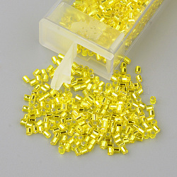 MGB&reg Matsuno Glass Beads, Japanese Seed Beads, 11/0 Silver Lined Round Hole Glass Seed Beads, Two Cut, Hexagon, Yellow, 2x2x2mm, Hole: 0.8mm; about 1640pcs/20g(X-SEED-Q023A-35)