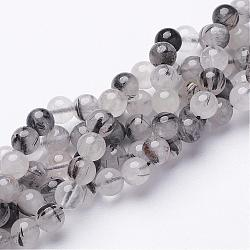 Natural Black Rutilated Quartz Beads Strands, Round, 6mm, Hole: 1mm, 31pcs/strand, 8inches