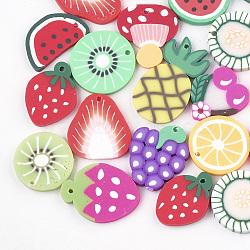Pendentifs en pâte polymère manuels, fruit, couleur mixte, 18~29x13~20x2~3.5mm, Trou: 1mm(X-CLAY-T013-01)
