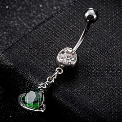 Piercing Jewelry, Brass Cubic Zirconia Navel Ring, Belly Rings, with Use Stainless Steel Findings, Cadmium Free & Lead Free, Planet, Platinum, Dark Green, 39x12mm; Pin: 1.5mm(AJEW-EE0003-02G)