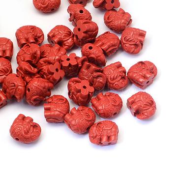 Elephant Cinnabar Beads, FireBrick, 12x14~15x8.5mm, Hole: 2mm(X-CARL-Q003-27)