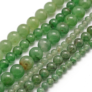 Natural Green Aventurine Beads Strands, Round, 6mm, Hole: 1mm, about 68pcs/strand, 15.75 inches(40cm)(X-G-E380-02-6mm)