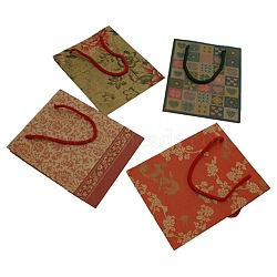 Sacs en papier kraft, avec poignées, sacs-cadeaux, sacs à provisions, couleurs assorties, environ15 cm de large, 19 cm de long(X-BP019)