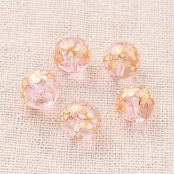 цветочная картина печатные стеклянные круглые бусины, pearlpink, 10 mm, отверстия: 1 mm(GLAA-J089-10mm-A05)