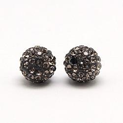 Perles de strass en argile polymère, Perles de boule pavé disco , Grade a, rond, pp 9, diamant noir, 6mm, Trou: 1.2mm(RB-A053-6mm-12)