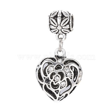 40mm Heart Alloy+Rhinestone Dangle Beads