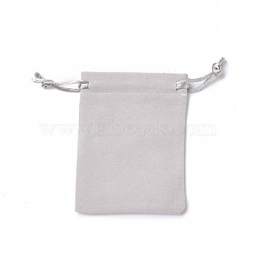 Velvet Packing Pouches, Drawstring Bags, Dark Gray, 9.2~9.5x7~7.2cm(TP-I002-7x9-06)
