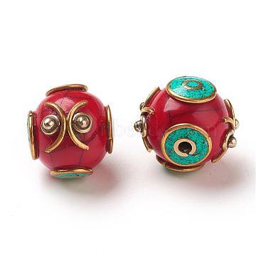 Handmade Tibetan Style Round Beads, with Brass Findings, Antique Golden, DarkRed, 16x17x17mm, Hole: 2mm(TIBEB-M023-09C)