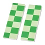 Opaque Resin Cabochons, Two Tone, Rectangle with Chessboard Pattern, Green, 62x19x2mm