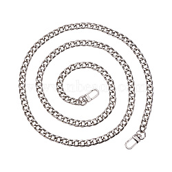 PandaHall Elite Bag Strap Chains, Iron Curb Link Chains, with Swivel Lobster Claw Clasps, Platinum, 160x1cm; 1strand/box(IFIN-PH0015-01B-P)