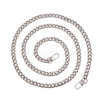 PandaHall Elite Bag Strap Chains, Iron Curb Link Chains, with Swivel Lobster Claw Clasps, Platinum, 160x1cm, 1strand/box(IFIN-PH0015-01B-P)