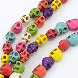 """Chapelets de perles en howlite naturelle, teint, crane, couleur mixte, 7x6x8mm, trou: 1mm; environ 50 pcs/chapelet, 15.35""""(X-TURQ-G140-12-A)"""