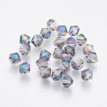 Imitation Austrian Crystal Beads, Grade AAA, Faceted, Bicone, Colorful, 6x6mm, Hole: 0.7~0.9mm(SWAR-F058-6mm-31)