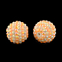 18mm LightSalmon Round Resin+Rhinestone Beads(RESI-S313-16x18-02)