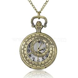 Flat Round Alloy Quartz Pocket Watches, with Iron Chains and Lobster Claw Clasps, Antique Bronze, 31.4inches; Watch Head: 50x39x14mm; Watch Face: 28mm(WACH-N039-03B)
