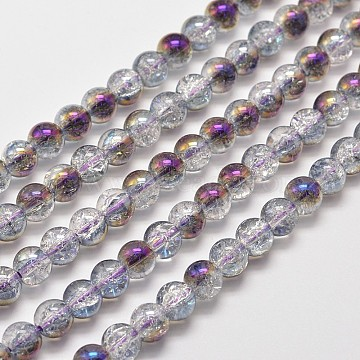 Electroplate Synthetic Crackle Quartz Bead Strands, Round Half Rainbow Plated, Purple, 8mm, Hole: 1mm; about 50pcs/strand, 15.7inches(EGLA-J067-8mm-HR05)