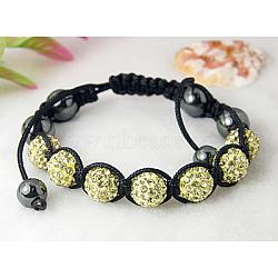 """Corde de nylon tricoté de mode bracelet avec hématite et de grade A strass perles, lightyellow, 2"""" (52 mm)(X-BJEW-Q441-1)"""