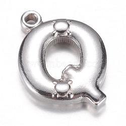 Breloques en 304 acier inoxydable, letter.q, 17.5x13x3mm, Trou: 1mm(STAS-G074-01Q)