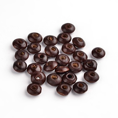 8mm Brown Flat Round Wood Beads
