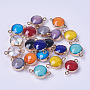 Electroplate Glass Pendants, with Iron Findings, Faceted, Flat Round, Golden, Mixed Color, 22x14x8mm, Hole: 1.5mm