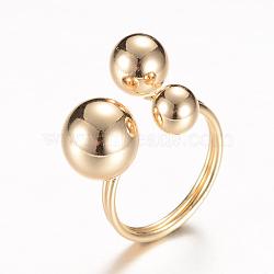 Латунные манжеты кольца перста, круглые, золотой свет, 17 мм(RJEW-T001-22KC)