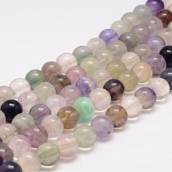 Natural Fluorite Bead Strands, Round, 6mm, Hole: 1mm; about 63pcs/strand, 15.5 inches