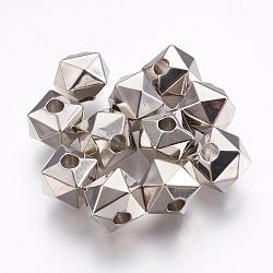 Perles européennes en plastique CCB, polygone, Lare perles de trou, platine, 10.5x13x13mm, Trou: 4mm(CCB-E052-64P)