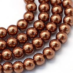 """Chapelets de perles rondes en verre peint, Sienna, 8~9mm, trou: 1mm; environ 105 pcs/chapelet, 31.4""""(X-HY-Q330-8mm-30)"""