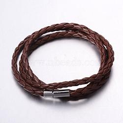 """Braclelets d'enveloppement, imitation cordon en cuir avec fermoir magnétique, platine, brun, 23-5/8"""" (600 mm); 3.5mm(BJEW-G475-05)"""