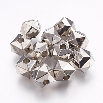 CCB Plastic European Beads, Polygon, Lare Hole Beads, Platinum, 10.5x13x13mm, Hole: 4mm(CCB-E052-64P)