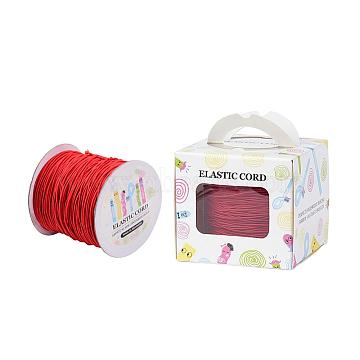 Elastic Cord, with Nylon Outside and Rubber Inside, Round, Red, 1mm; 109.36yards/roll(100m/roll)(EC-JP0003-1mm-019A)