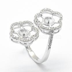 Composants de bagues en 925 argent sterling, pour la moitié de perles percées, avec zircons, fleur, clair, platine, plateau: 4 mm; 17 mm; broche: 0.5 mm(STER-E060-30P)