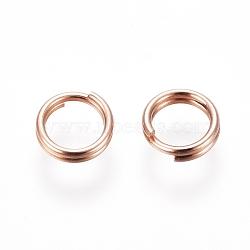 304 Stainless Steel Split Rings, Rose Gold, 5x1mm; Inner Diameter: 3.5mm; Single Wire: 0.5mm(STAS-E484-70B-RG)