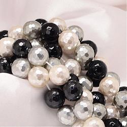 """Facettes rondes chapelets de perles coquille de nacre, couleur mixte, 12mm, trou: 1mm; environ 33 pcs/chapelet, 15.74""""(BSHE-L012-12mm-L033)"""